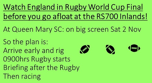 More information on Watch the rugby then race at your RS700 Inlands!